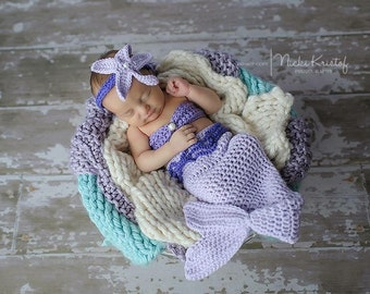Lavender Newborn Baby Mermaid Tail Photo Prop, 0 to 3 Month Baby Girl Mermaid Costume