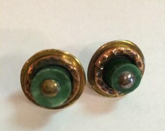 Pr. Mexican Silver Copper Earrings Green Stones Modern