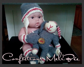 "Baby knitting pattern/ Canadian 'wool sock"" pattern for a baby hat/mitts/socks - PDF * Patron tricot pour bébé (chapeau/mitaines/bas)"