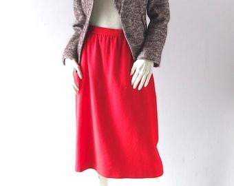 1970s Red Wool Challis Skirt - Allen Bernard Ltd - sz 8 10 - High Pinch Pleated Waist - Ruby Red - Al Line Classic - Wear to Work