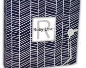 Navy Herringbone Stripe Album - Ruby Love Modern Baby Memory Book