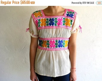 35% OFF SUMMER SALE Hot Pink Trimmed Embroidered Peasant Top