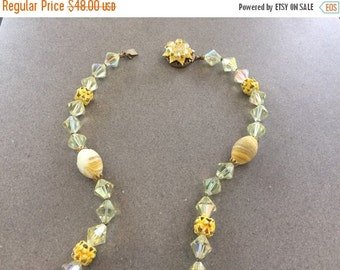35% OFF SUMMER SALE The Vintage Yellow Jewel Beaded Long Necklace