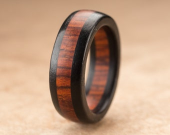 Custom Ebony Cocobolo Wood Ring - 7mm