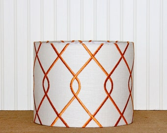 Geometric Drum Shade - Orange Lamp Shade - Embroidered Lampshade - Papaya - Fall Decor - Modern Drum Shade - Lampshade - Pendant Shade