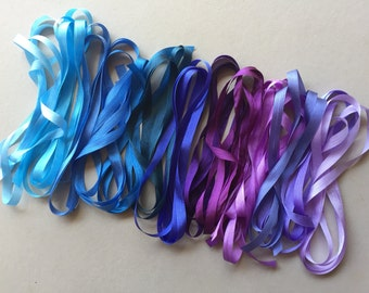14 metres of 7mm solid colour silk ribbon