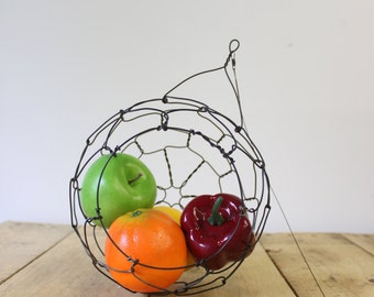 Hanging Wire Basket,  Sphere,Fruit, Small