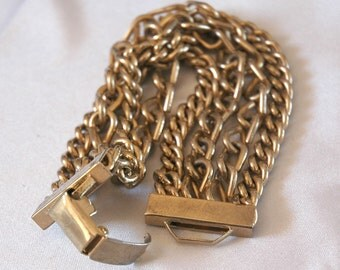 Retro Heavy Link Chain Bracelet, Monet-Like, Gold Plated, Four Strands, Curb, S-Hook Links, Timeless Fashion Jewelry, Excellent Condition