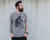 Chimpanzee on a Bicycle - Mens Shirt American Apparel - Tri Blend - Grey