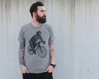 Chimpanzee on a Bicycle- Mens T Shirt, Unisex Tee, Tri Blend Tee, Handmade graphic tee, sizes xs-xxl