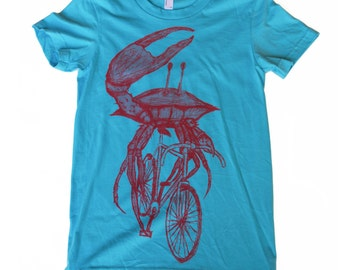 Womens CRAB on a bicycle aqua t shirt - Womens T Shirt, Ladies Tee, Tri Blend Tee, Handmade graphic tee, sizes s-xL