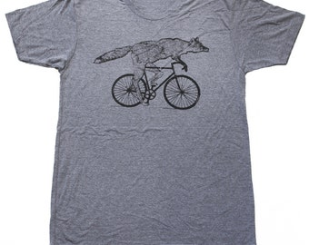 Fox on a bicycle- Mens T Shirt, Unisex Tee, Tri Blend Tee, Handmade graphic tee, sizes xs-xxl