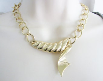 Vintage gold ribbon chain cocktail necklace (M)