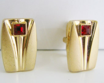 Vintage Speidel gold art deco style  cuff links with red crystals (J10)