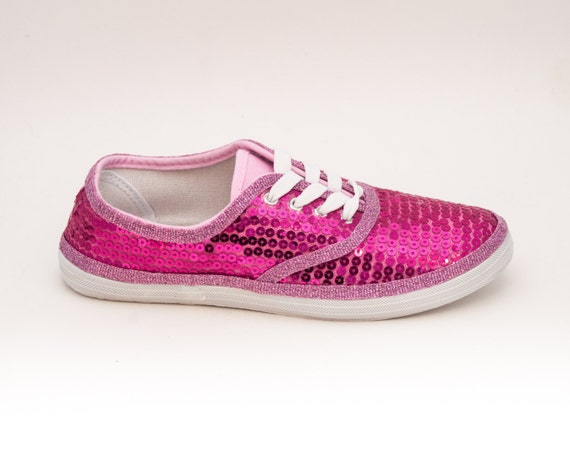 Hot Pink Sequin Tennis Shoes