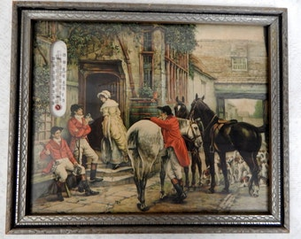 Vintage Thermometer Picture English Coaching Scene  Orig Frame
