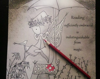 "Color Poppets - Coloring Page (Digital Download)  ""Reading is Magic""  - Lisa Snellings"