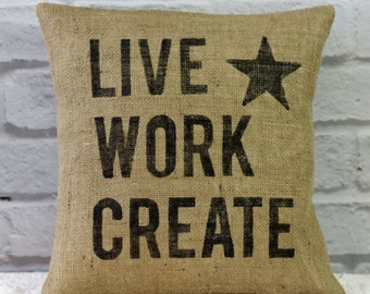 Decorator Burlap Pillow Cover Hand Painted Pillow Live Work Create