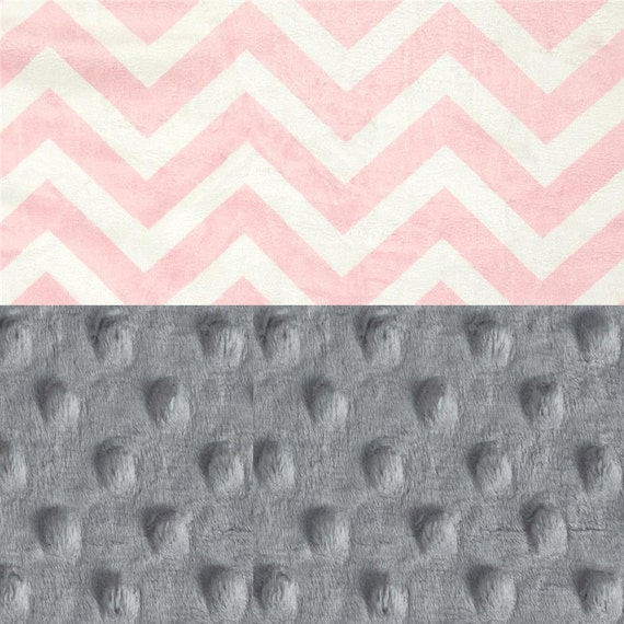 Mini Minky Blanket Lovey,  Personalized Baby Blanket - Gray Pink Chevron Blanket - Tag Blanket - Burp Cloth / Girl Lovey / Name Baby Blanket