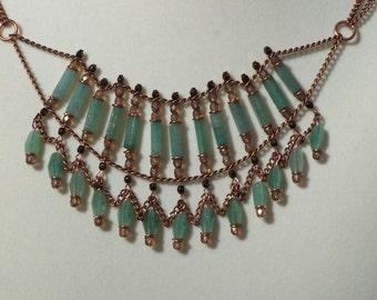 Green Aventurine and Copper Bib Necklace
