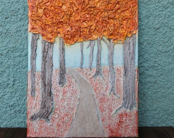 Fall Forest Mixed Media Canvas
