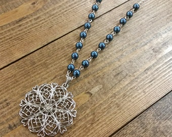 Navy Pearl and Silver Medallion Necklace