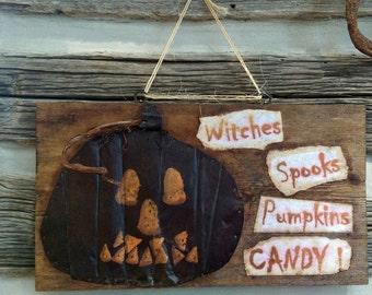 Halloween Rustic Pumpkin Sign