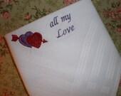 All My Love Valentine Hankerchief white Cotton  Gift Set of 2 - Dad Husband Boyfriend