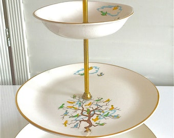 Tiered pastry stand-Vogue tableware-little birds-birds in a tree-Aynsley & Co.-made in England-Vancouver