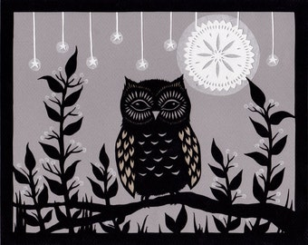 Enjoying The Night - 8 x 10 inch Cut Paper Art Print