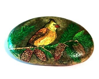 Happy Bird Rock Painting