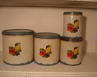 Vintage Metal Canisters / Blue and White / Fruit Scene / 1940s  farm kitchen   Cute!