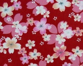 2658C -- Japanese Cherry Blossoms in Red, Sakura Fabric, Spring Flower, Flower Fabric