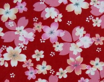 2658C -- Japanese Cherry Blossoms in Red, Sakura Fabric, Spring Flower, Flower Fabric