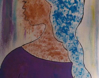 Miss Misty Blue,   black girl painting,african art,girls art  ,headcovering, african american art,black woman painting,girls room,
