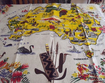 Souvenir Australia Tablecloth by Heil, Map of Australia Linen 51 in. x 52 in. Alice Springs, Ayers Rock, Tasmania, Melbourne