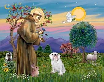 DIGITAL DOWNLOAD -  8x10 Saint Francis &  White English Bulldog