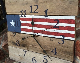 Reclaimed Aged Pallet Wood Wall Clock , Hand Painted Upcycled Texas Flag (Ready to Ship)