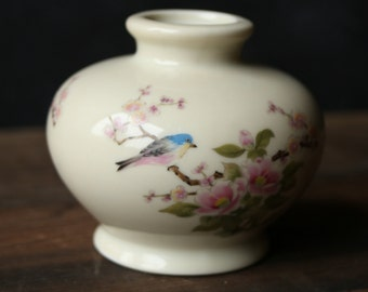Vintage Japanese Porcelain Miniature Vase Blue Bird Flower Hand Painting Under 30 Gift Idea East Wind San Francisco From Nowvintage on Etsy