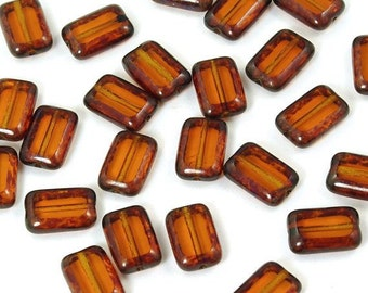 Czech Glass Dark Topaz Picasso Rectangle 8x12 Window Beads - 12