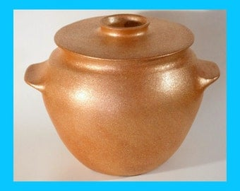 Distinctive Handcoiled 5 qt. Bean Pot, All Handmade from Micaceous Clay, Ceramics and Pottery, Clay Bakeware