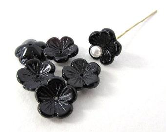 Vintage Glass Flower Beads Black Petals Daisy Cupped Bead Cap 13mm vgb1090 (6)
