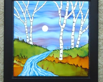 Ceramic Tile Alcohol Ink Tile Abstract Birch Tree Landscape with Moon and Stream Large Size 10 x 10 with frame 8 x 8 tile inside