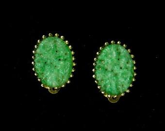 Vintage signed Jomaz earrings Faux Jade center