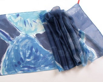Blue silk shawl/ Hand painted silk scarf/ Floral wrap scarf/ Lightweight scarf painted in abstract style/ Bridal shawl OOAK/ Gift for mother