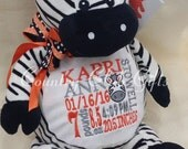 Personalized baby gift, birth announcement, best baby gift ever, plush, Zebra,subway art, stuffed animal with name,Embroider buddy