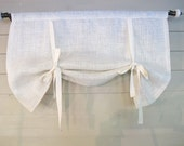 White or Natural Burlap 36 Inch Long Stage Coach Blind Swedish Roll Up Shade Tie Up Curtain Swag Balloon