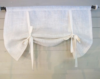 White Or Natural Burlap 36 Inch Long Stage Coach Blind Swedish Roll Up  Shade Tie Up