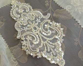 Bridal Gown Sequin Applique - White Lace With Iridescent Sequins