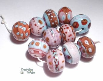 LA VIDA Lampwork Beads Handmade - Pink Red Aqua Blue Coral - Pretty and  Bold  - Set of 11